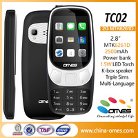 OEM cheap price MTK 2.8inch with 2500mAh power bank, LED torch, Big speaker wcdma gsm triple sim card mobile phone