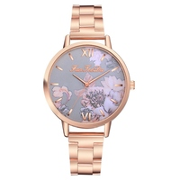 Rose Gold Stainless Steel Watches Women Top Brand Luxury Casual Clock Ladies Wrist Watch Relogio Feminino Flowers