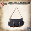 Factory price hot utility style vintage canvas leather bulk messenger sling bags men