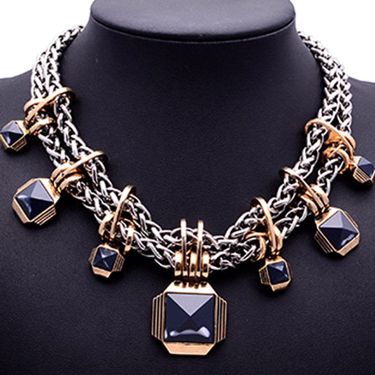 ZH0211F Hot selling cheap vintage fashion statement chunky necklace for women in 2017