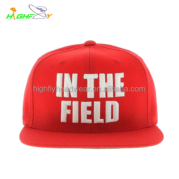 wholesale/High quality Red cap hat white 3D puff embroidery 100%cotton material for snapback cap, plastic cap