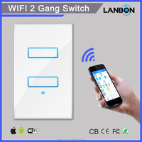 Wifi electrical switch smart wall light 2 gang switch with tempered glass panel
