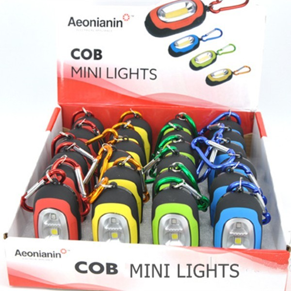 COB Pocket Key Chain Flashlight Magnetic Portable led tent Light With Carabiner Assorted Colors