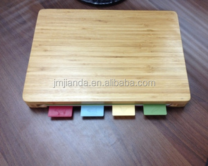 Bamboo Cutting Board holder Set with 4 PCS Plastic PP Cutting Mats, pp cutting board with holder, colorful cutting board