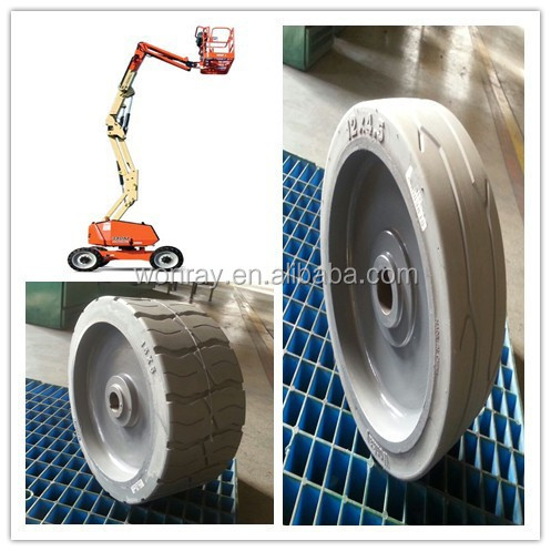 Hot sale 12*4.5 genie boom lift wheel caster, forklift metalrota drive wheel assembly