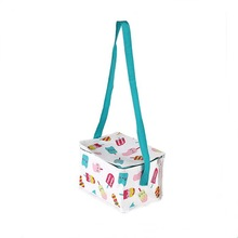 China cute thermal pp woven shoulder lunch cooler bag for girls/nice print durable insulated warmer bag