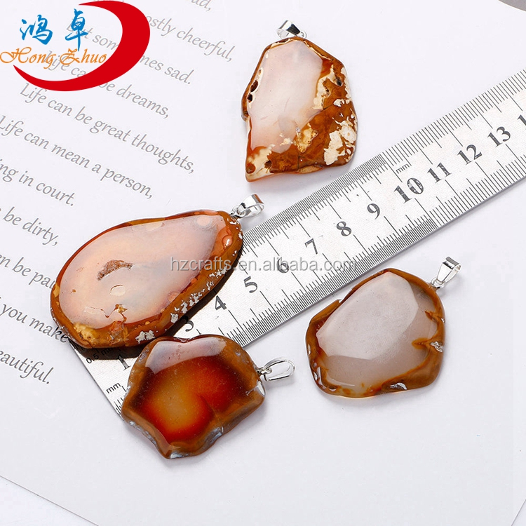 Wholesale Natural Fuchsia Agate Slice Pendant