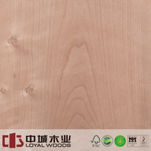 China manufacture rotary cut cherry natural wood veneer with burl