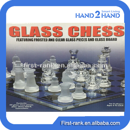 New design board game with crystal glass chess for children