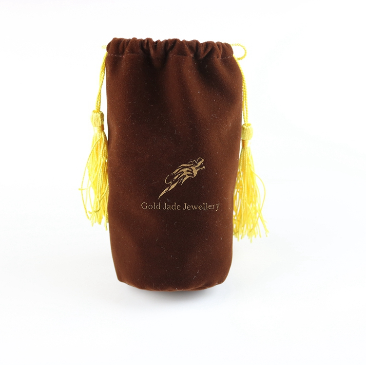 Hot sale wholesale/ Custom velvet pouch large string with tassel drawstring