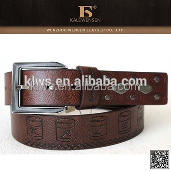 Cheap Genuine Black Leather Belt With Logo