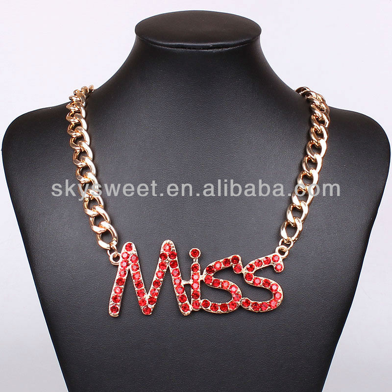 Miss Jewelry Necklace, Red Crystal Jewelry, Big Chain Neckalce (SWTCXTN2320-2)
