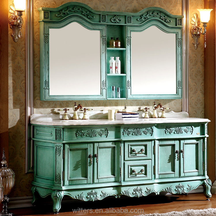WTS-801L customize Classic Style and Mirrored Cabinets Type hand carved bathroom vanity cabinets