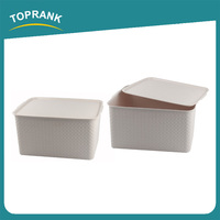 Toprank Different Size Design Pattern Home Living Plastic Storage Organizer Clothes Storage Box Container With Lid