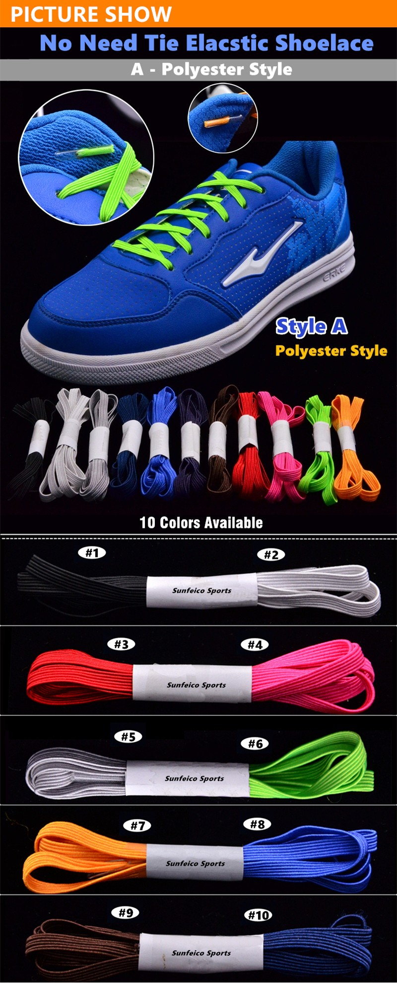 Customized Free-tie Kids Flat Elastic Shoelaces with Metal/Plastic Hooks Clips - over 11 Colors Available - eBay/Amazon Supplier