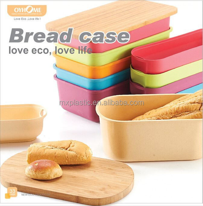 Eco-friendly storage box bamboo fiber bread bin with bamboo lid