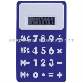 8 Digits Solar flexible Silicon rubber Calculator,battery operated ,office promotional gifts