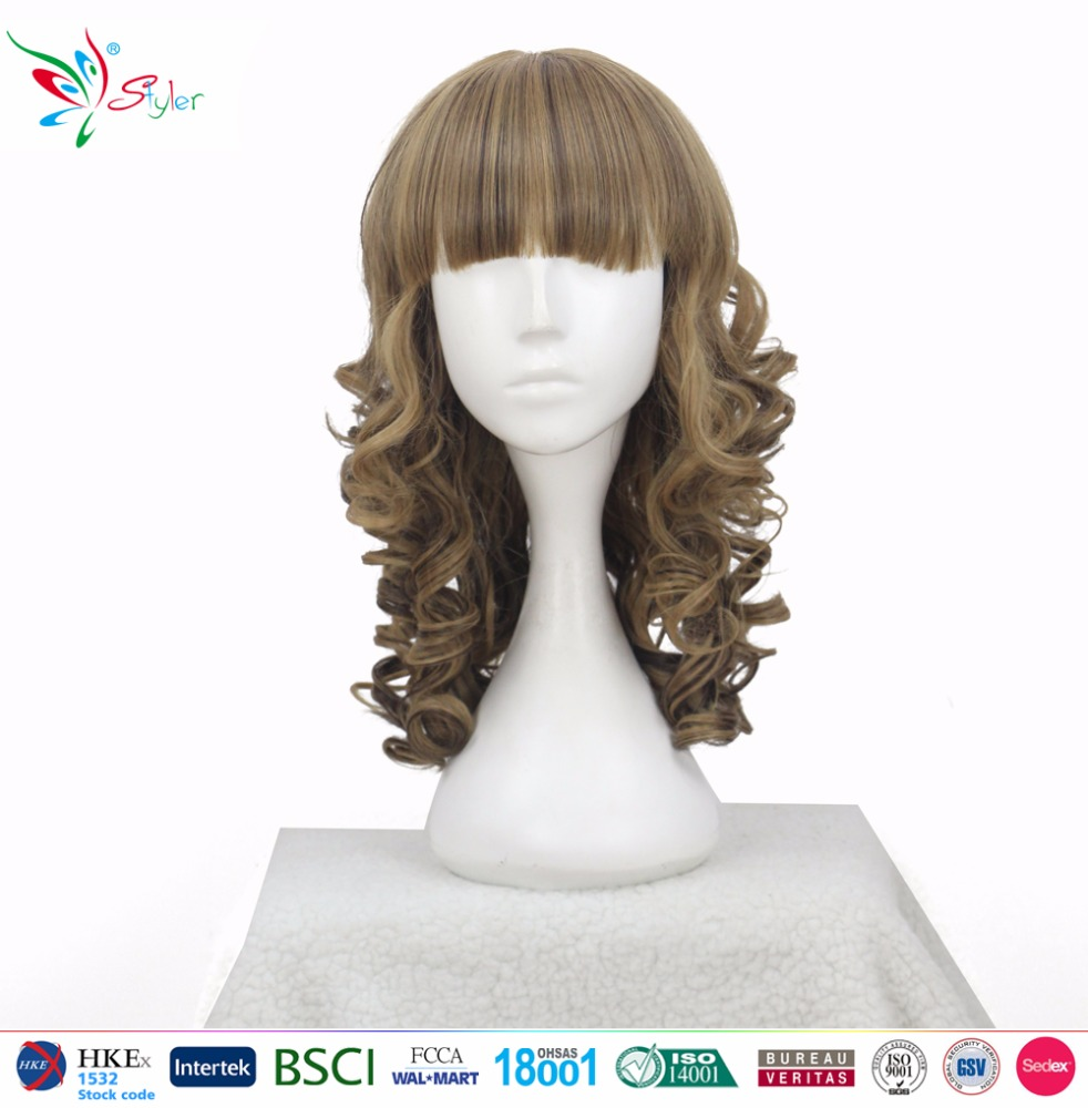 Styler Brand sexy beauty curly hair for asian women cheap ladies synthetic cosplay wigs
