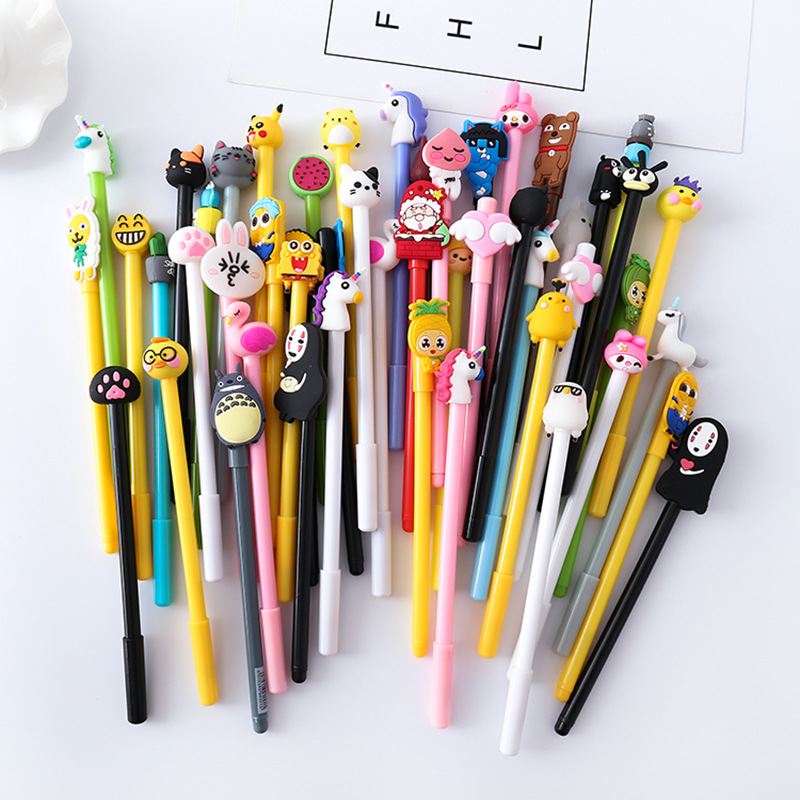 Plastic creative cartoon unicorn black gel ink <strong>pen</strong> for kids novelty school gift
