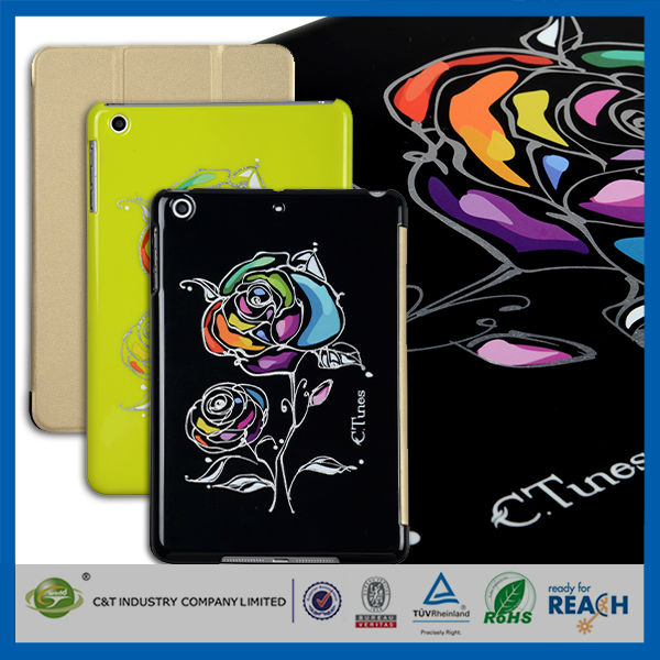 C&T Artist Colored Drawing real leather flower case for ipad air