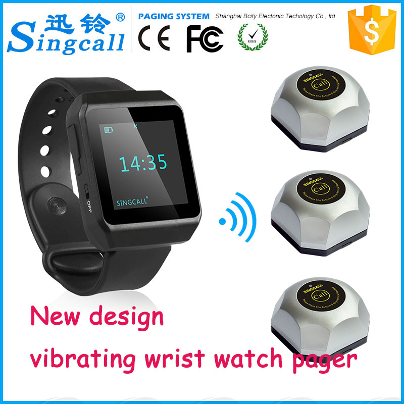 New design waterproof restaurant vibrating wrist watch pager