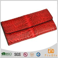 W674 fold flap red snake leather purse slim women wallet wholesales
