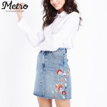 Fashion Blue Washed Embroidered Denim mini Skirt