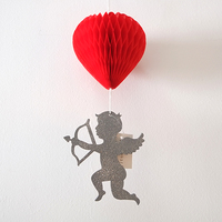 Grey Cupid Red Heart Paper Flowers