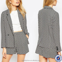fashion business suits for women 2013, women soft tile print blazer suit