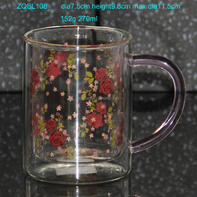 270ml 9oz Inner Decal Printing Double Wall Glass Mug in Heat Resist Borosilicate Glass Material