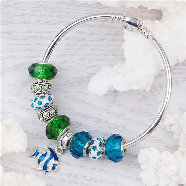 Copper European Style Bangles Silver Tone Multicolor Glass Crystal Imitation Fish Dangle Beads Rhinestone With Snap Clasp