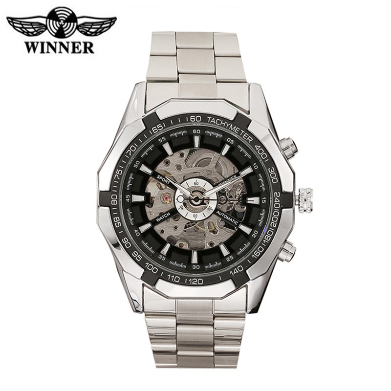 winner brand luxury automatic watch no battery male fashion skeleton analog watch men military stainless steel mechanical watch