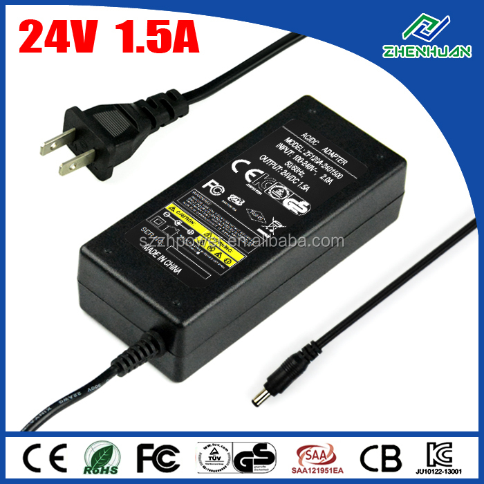 Universal AC adapter 24V 1.5A 36W for router cctv