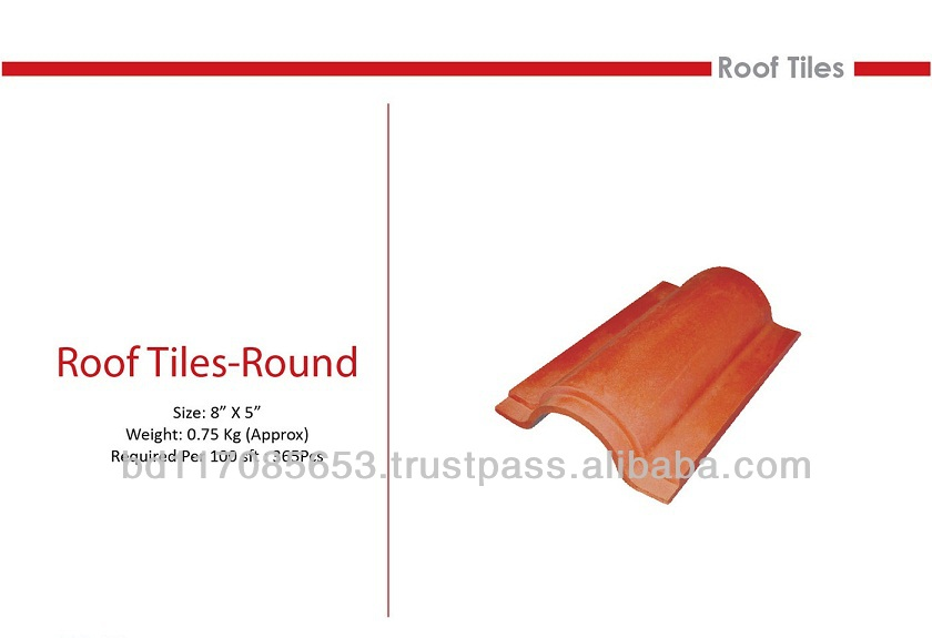 Roof Tiles Round, Clay, natural color/ Eco friendly/ Heat Insulation/ Water Resistance/ Cooler Temperature