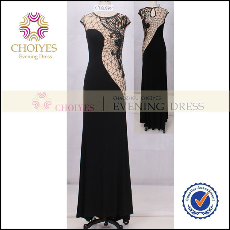 CY62540 Long Elegant Two Tone Black Evening Dress Porn Online Shopping