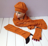 Fashion Winter Latest Design Hot Selling Knitted Leg Warmer Hat Scarf Glove Set