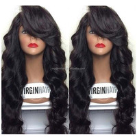 Top sell glueless full lace 100% human hair 24inch wavy wig with bang