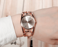 Fashion vogue rose gold/silver stainless steel back quartz bangle watches for women