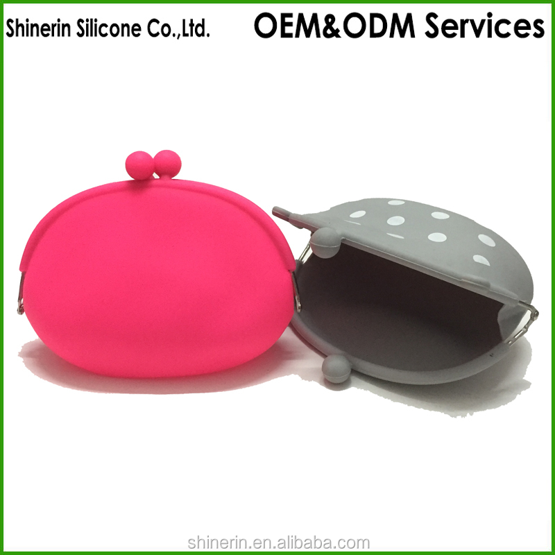 Womens Silicone Kiss Lock Coin Purse Bag For Phone Holder