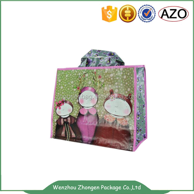 Lovely design handle bag ,cartoon shopping bag,cute gift packing woven bag
