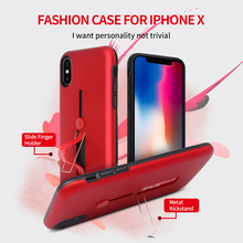 Multifunctional Best Selling Antiskid Rubber Finger Slide Ring Holder Metal Kickstand 2 in 1 Cell Phone Case for iPhone X