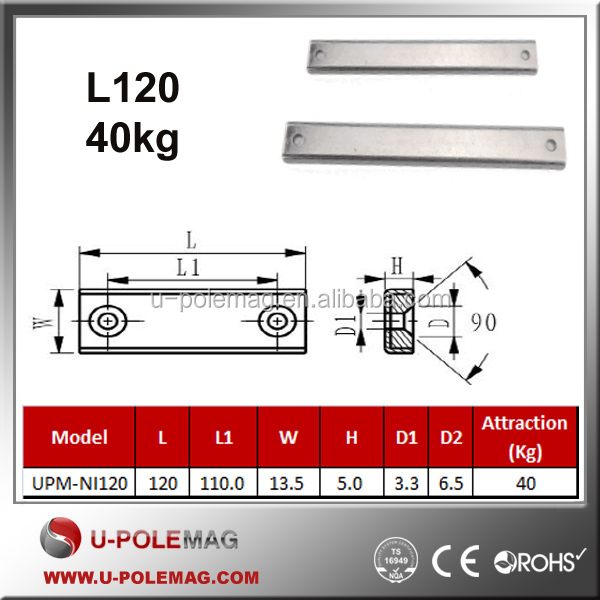 UPM-NI120 87lbs <strong>L120</strong>*W13.5mm Channel magnet/Retangular Holding kits with screw holes