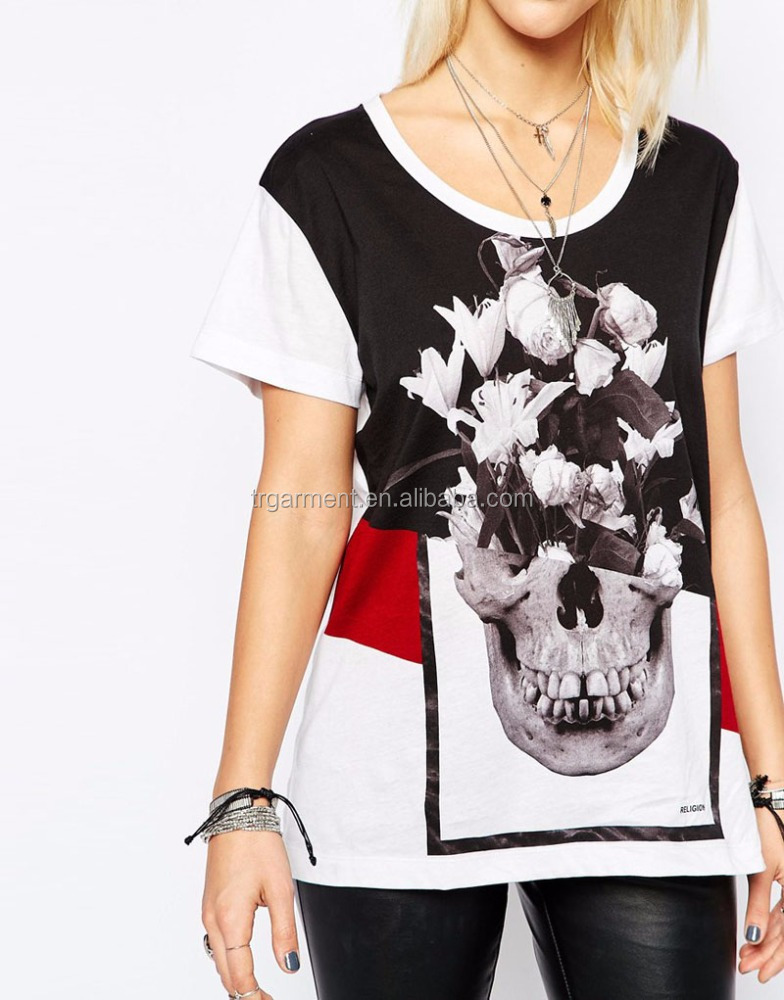 Beatles sleeved t shirts Ladies skull print clothe plus size wholesaler