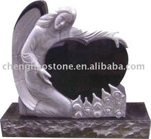 Angel and heart shape granite headstone