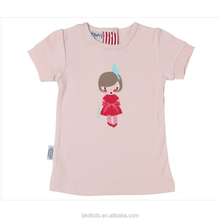 BKD baby 100% cotton clothing baby girls short sleeve T-shirt