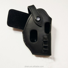 tactical black yellow leather gun holster for police