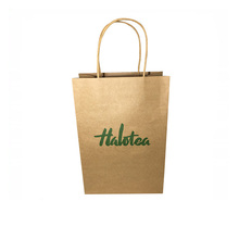 High quality fancy design kraft paper bag with paper handles and waved edge