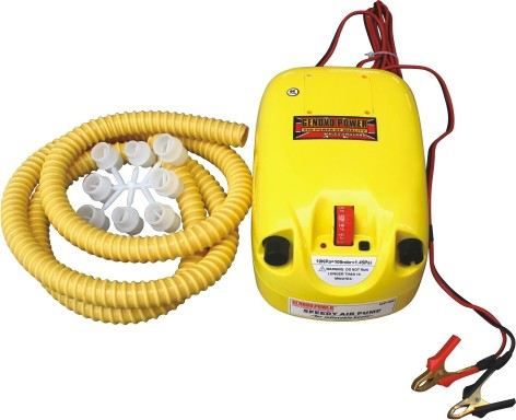 High pressure & Speedy DC12V double action inflatable air pump with 12V battery for boat and tent and inflatable kite