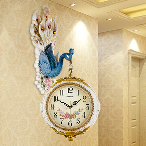 360 Degree Rotation Double Faced Sided Peacock Wall Clock