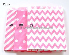 Pink Favor Bags -Chevron/ Polka Dot/Striped Glassine Paper Bag - 55Colors Available, free shipping by fast express fedex/dhl/ems
